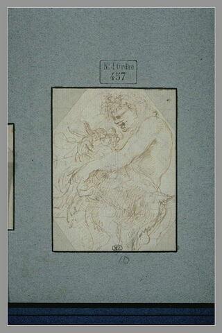 Satyre enfant jouant avec un chevreau