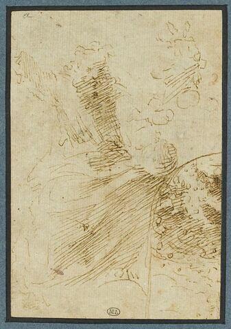Dieu le Père assis, tenant le globe ; esquisse fragmentaire d'une composition cintrée avec Dieu le Père parmi les anges