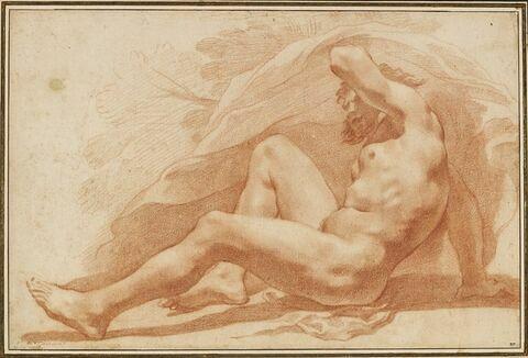 Homme barbu, nu, à demi-allongé, appuyé sur le bras droit.