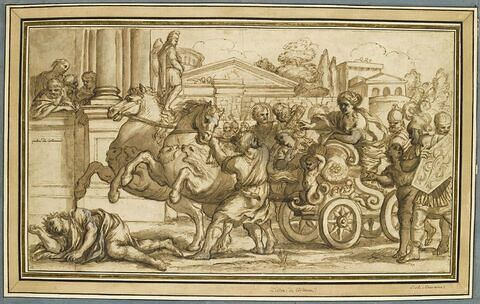 Tullia sur son char ordonne de passer sur le corps de son père