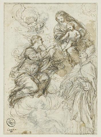 Mariage mystique de sainte Catherine, sur des nuages, en présence d'un évêque et des anges