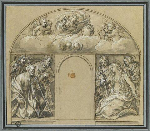 Projet de tabernacle : Dieu le Père et sept saints entourant une niche vide