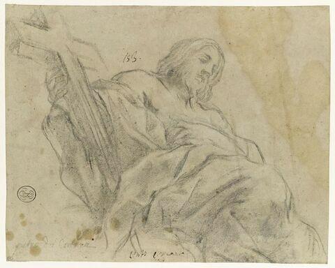 Christ drapé, assis, portant une croix dans la main droite