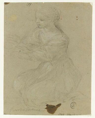 Jeune fille à genoux, vue de trois quart, tournée vers la gauche
