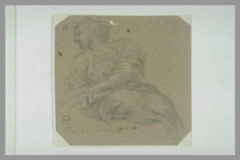 Jeune femme assise, tournée vers la gauche