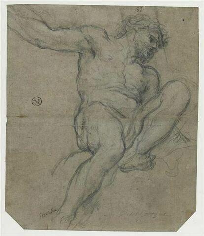 Homme nu assis, la jambe gauche levée et pliée : Adam ou Enée ?