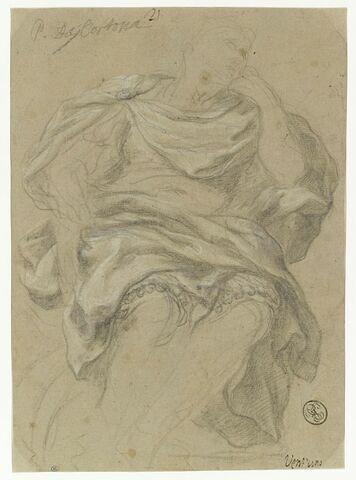 Homme drapé assis, vu de face, la tête tournée vers la droite : Auguste