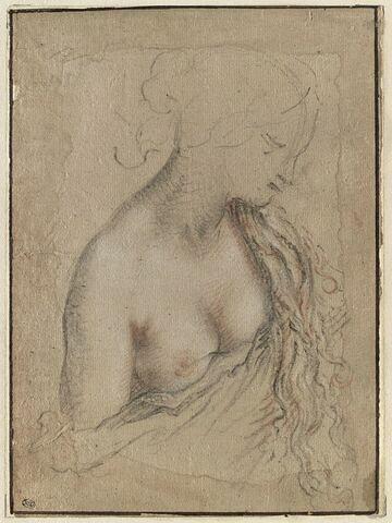 Buste de jeune femme, demi nue, de profil vers la droite, le sein droit dénudé
