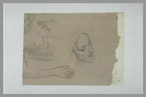 Etude d'homme nu en buste, couché, appuyé sur son avant-bras droit ; étude de tête de trois-quarts à droite, le regard baissé
