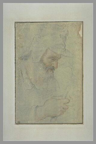 Paysan en buste, de profil à droite, coiffé d'une casquette, tenant un bâton de la main droite
