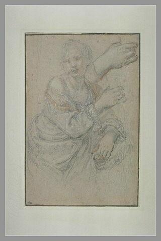 Femme accoudée, tenant une coupe, vue à mi-corps, buste de trois quarts vers la droite, bras droit levé et détail de la main droite