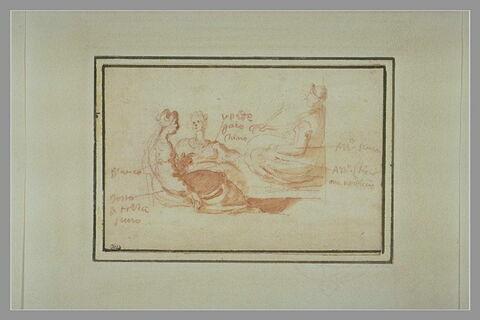Croquis de trois femmes assises