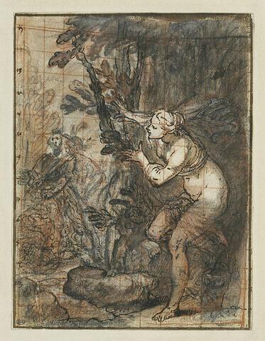 Nymphe cachée, guettant deux personnages : Echo et Narcisse