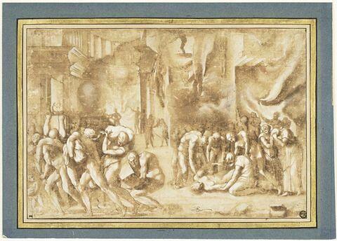 Scène d'incendie dans un palais