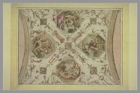 Décor de plafond : arabesques et médaillons octogonaux à sujet biblique