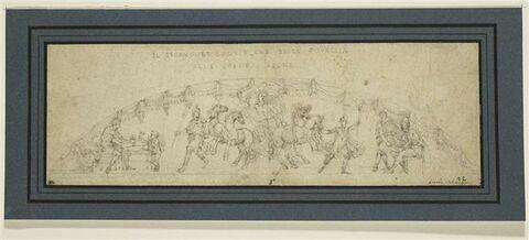 Char d'Apollon ;  Vulcain forgeant ;  un homme recevant un bouclier