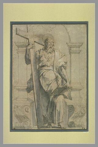 Un apôtre tenant une croix et un livre ouvert, dans une niche
