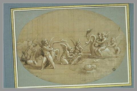 Sept amours jouant avec des cygnes