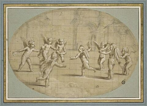 Huit amours jouant à la balle dans un paysage urbain à l'antique