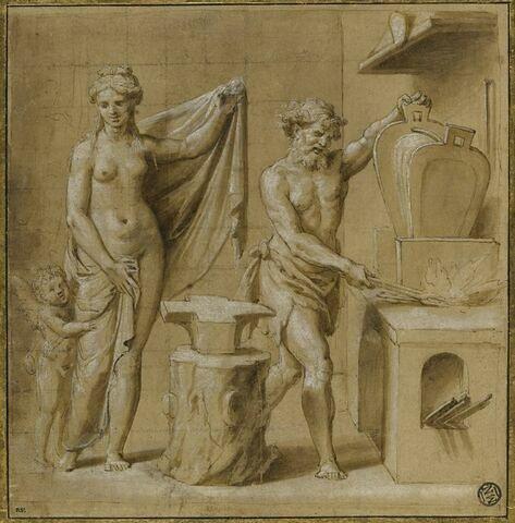 Vulcain forgeant des flèches en présence de Vénus et de l'Amour  ; esquisse d'une figure : Mars ?