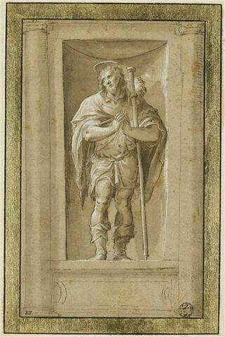 Saint Roch dans une niche, debout,  les mains jointes