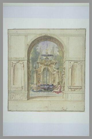 Au travers d'un portique, vue d'une fontaine où se baigne une femme nue