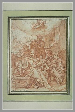 Sainte Famille avec le petit saint Jean, sainte Elisabeth, sainte Catherine