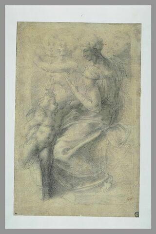 Femme de profil assise, un enfant sur les genoux, trois autres figures