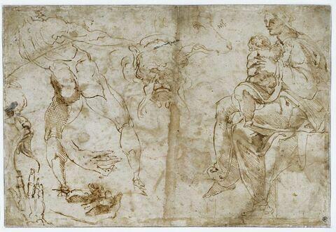 Etudes : Vierge à l'Enfant, homme, deux têtes de satyres, mains, chiens