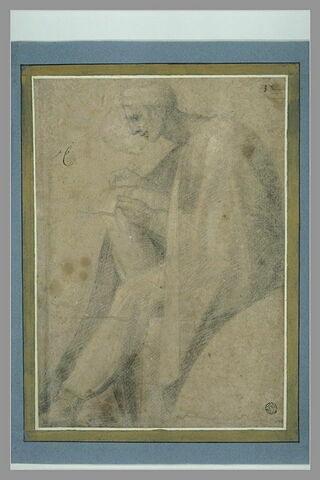 Homme assis, écrivant sur son genoux, (Josaphat ?) , voûte de la Sixtine
