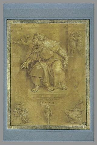Le prophète Ezechiel, d'après la voûte de la Chapelle Sixtine