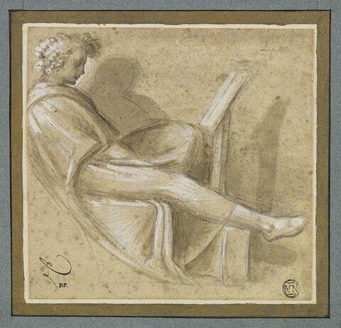 Copie d'après la figure de droite dans la lunette de Naason,Cappella Sistina
