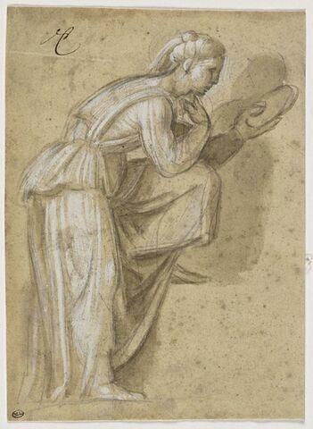 Copie d'après la figure de gauche dans la lunette de Naason,Cappella Sistina