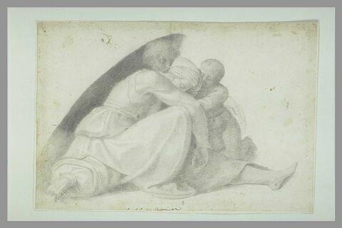 Le futur roi Asa consolant son père derrière sa mère endormie