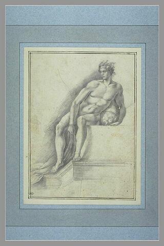 Etude d'un homme nu, assis, tenant une corbeille de fruits
