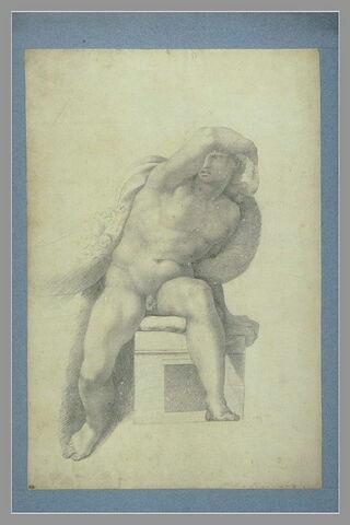 Jeune homme nu, assis, le bras droit au-dessus de la tête
