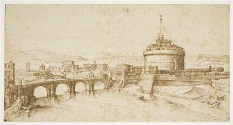 Vue du pont et du Castel Sant'Angelo à Rome