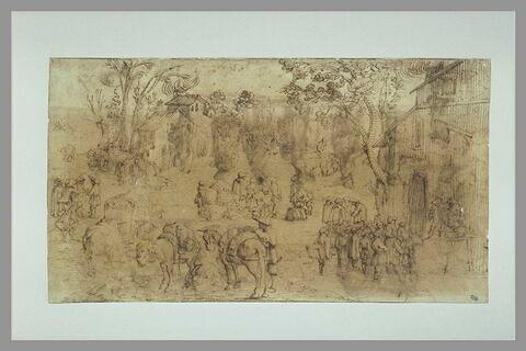 Paysage avec scène de foire, paysans et chevaux