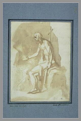 Saint Jean-Baptiste assis dans le désert