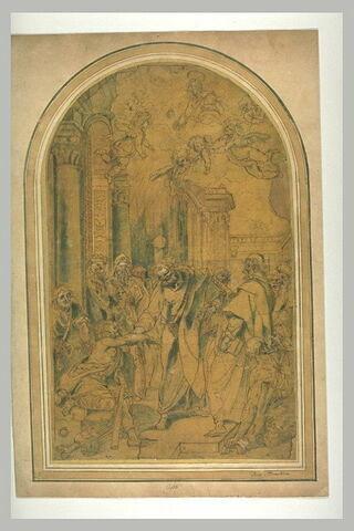Saint Pierre guerrissant un boiteux assis à la porte du Temple