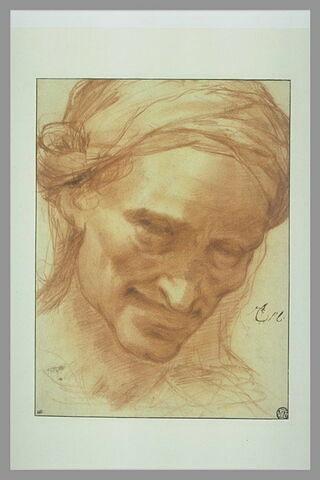 Tête de vieille femme souriante, coiffée d'un turban