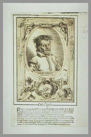 Portrait en buste du poète Ganaïff, lauré, dans un cartouche