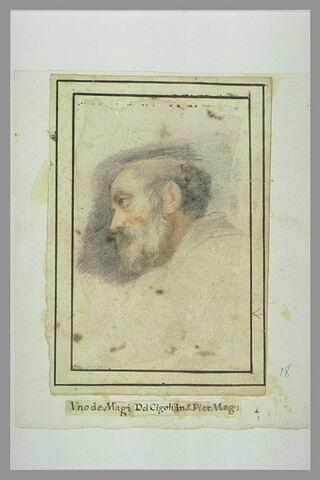 Tête d'homme barbu, de profil, à gauche