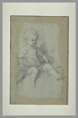 Enfant assis, levant la main droite et souriant : Jésus enfant