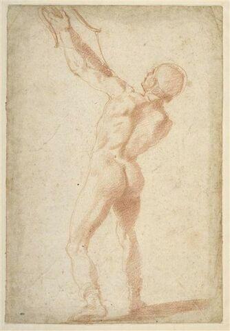 Homme nu debout, de dos, tirant à l'arc
