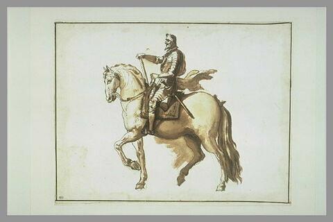 Henri IV à cheval, de profil vers la gauche