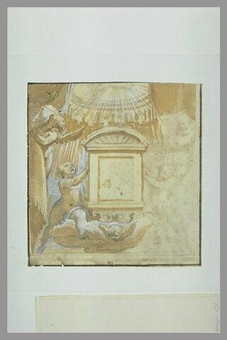Projet de tabernacle soutenu par des anges, et surmonté d'un baldaquin