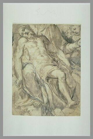 Le Christ mort dans les bras de la Vierge, un ange à droite