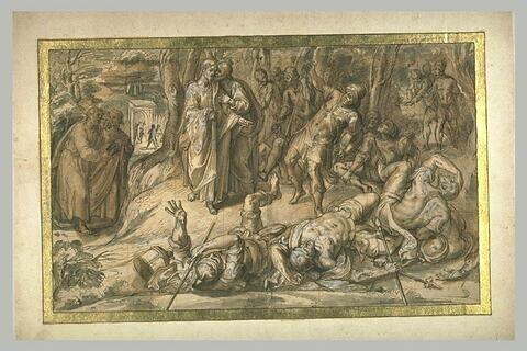 Soldats tombant à la renverse au Jardin des oliviers