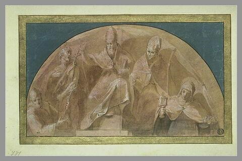 Un pape, un évêque, saint François, saint Jean-Baptiste et sainte Claire